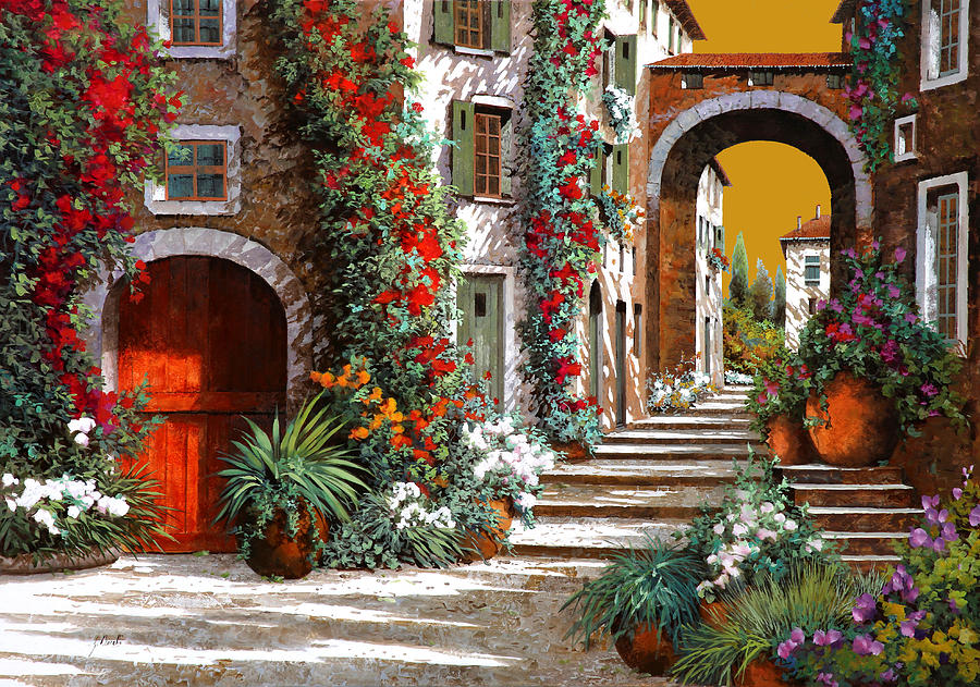 Red Door Painting - Laltra Porta Rossa Al Tramonto by Guido Borelli