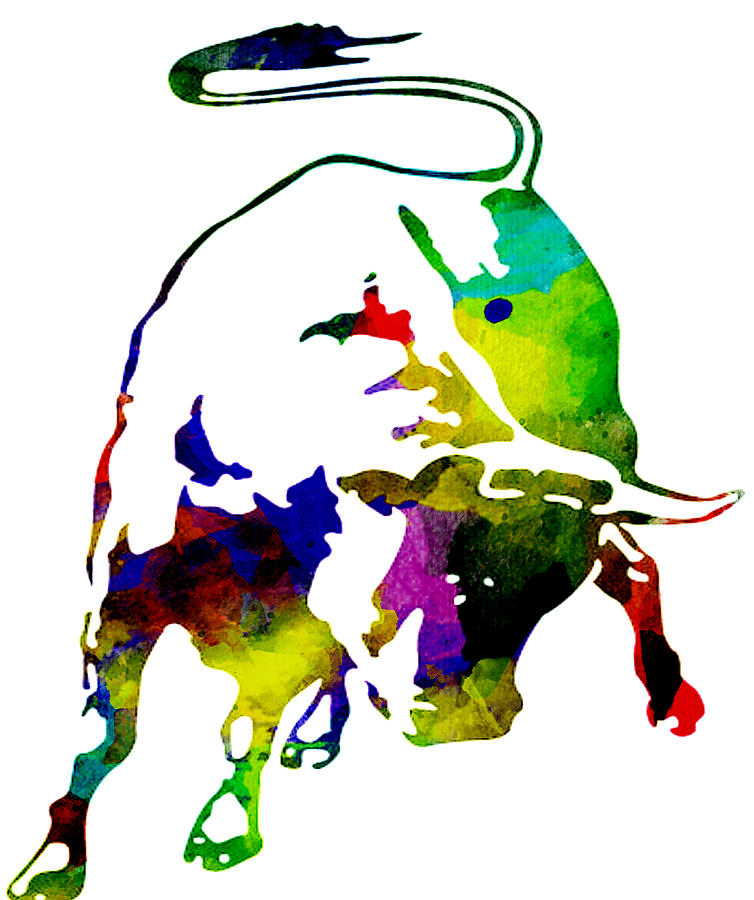 Lamborghini Bull Emblem Colorful Abstract Painting By Eti Reid