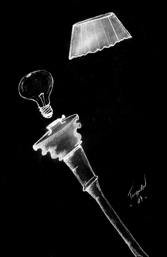 Lamp Drawing  - Lamp Fine Art Print