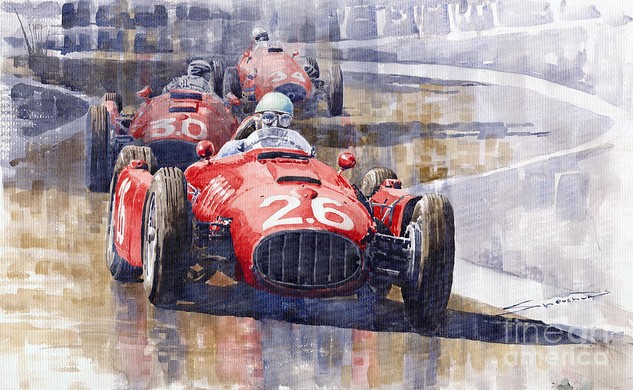 Watercolour Painting - Lancia D50 Monaco Gp 1955 by Yuriy  Shevchuk