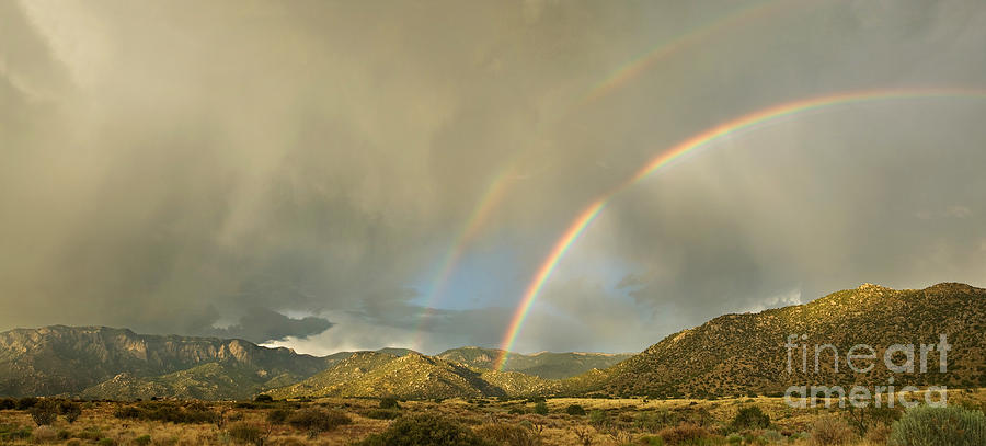Land Of Enchantment - Rainbow Over Sandia Mountains Photograph  - Land Of Enchantment - Rainbow Over Sandia Mountains Fine Art Print