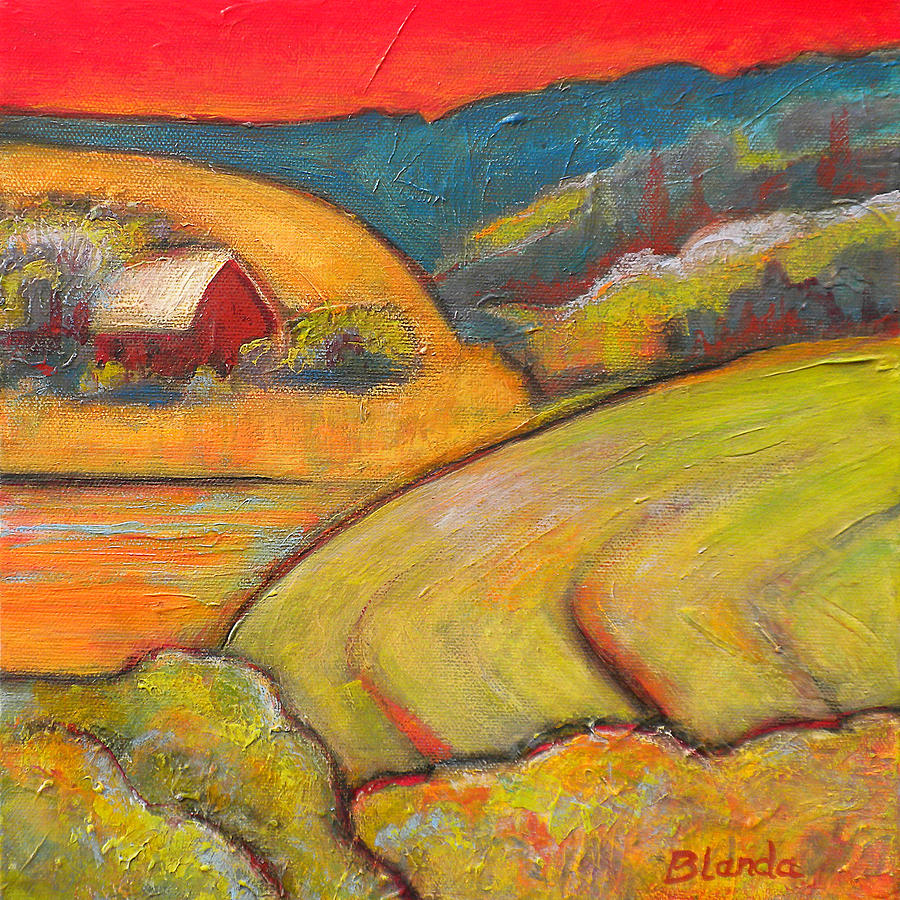 Landscape Art Orange Sky Farm Painting