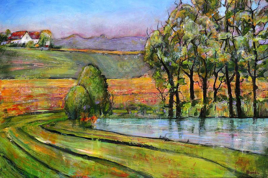 Landscape Art Scenic Fields Painting  - Landscape Art Scenic Fields Fine Art Print