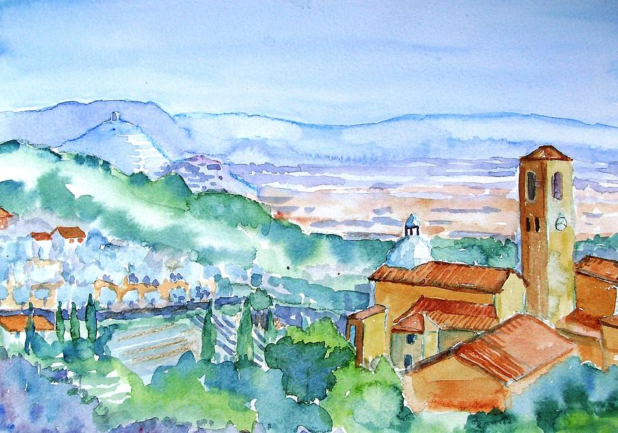 Landscape In Tuscany With Medieval Village  Painting