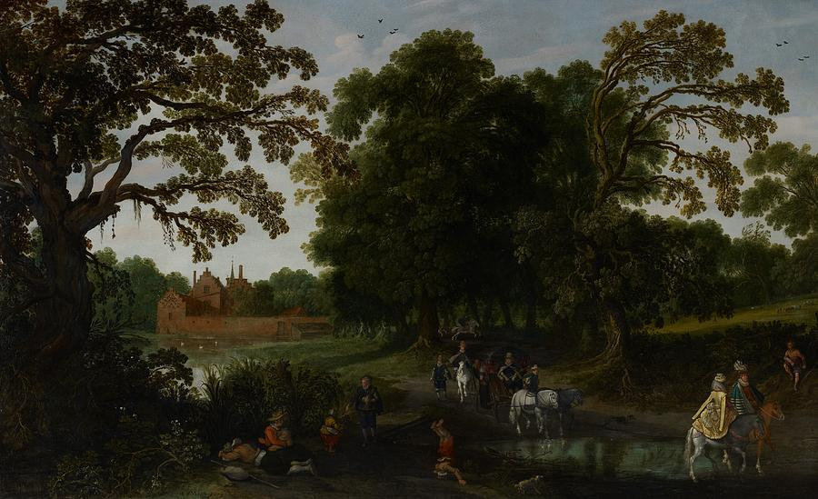 Landscape With A Courtly Procession Before Abtspoel Castle Painting