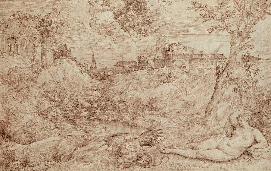 Landscape With A Dragon And A Nude Woman Sleeping Drawing - Landscape With A Dragon And A Nude Woman Sleeping by Titian