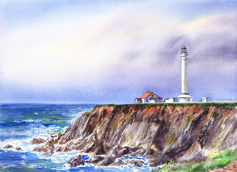 Lighthouse Point Arena California Painting