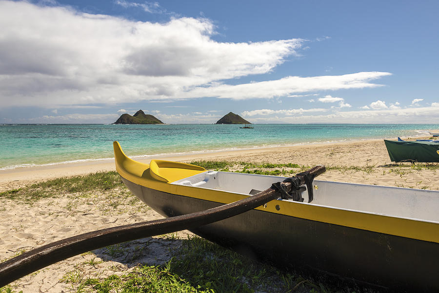Lanikai Beach Outrigger 1 - Oahu Hawaii Photograph