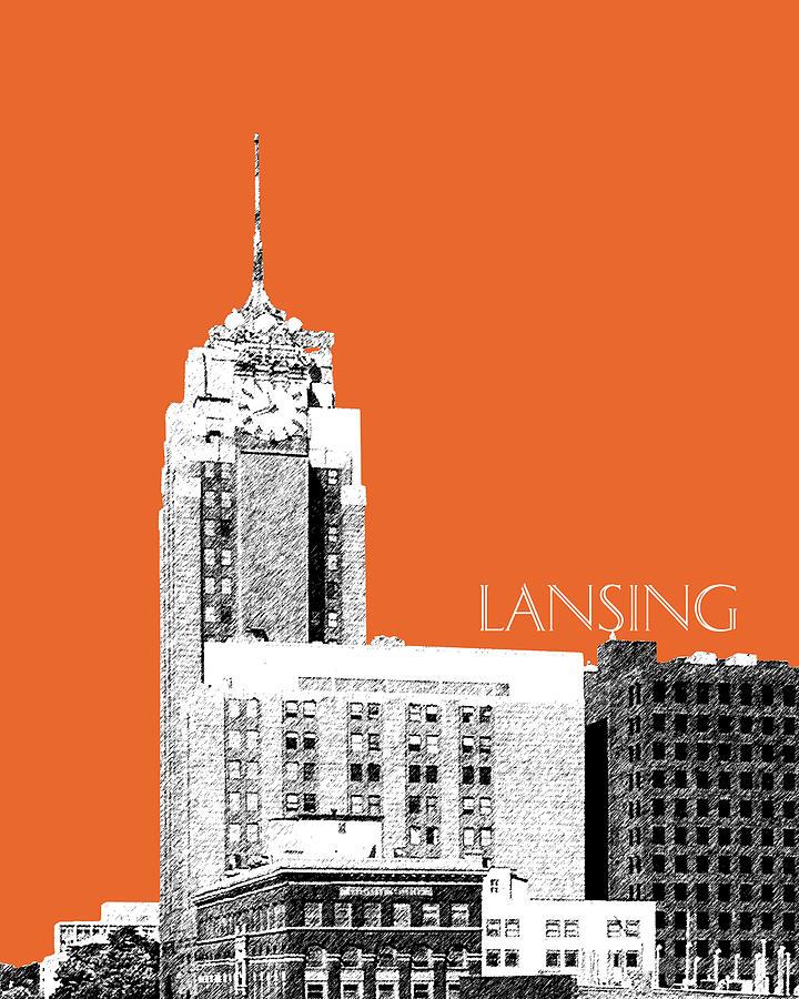 Architecture Digital Art - Lansing Michigan Skyline - Coral by DB Artist