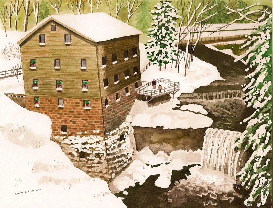 Lantermans Mill In Winter - Mill Creek Park Painting