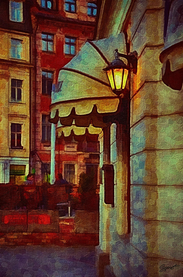 Lantern At The Cafe Painting  - Lantern At The Cafe Fine Art Print