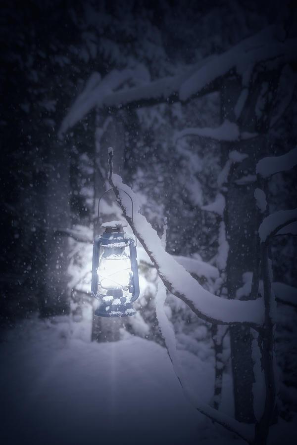 Lantern In Snow Photograph