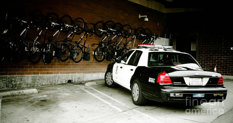 Lapd Cruiser And Police Bikes Photograph  - Lapd Cruiser And Police Bikes Fine Art Print