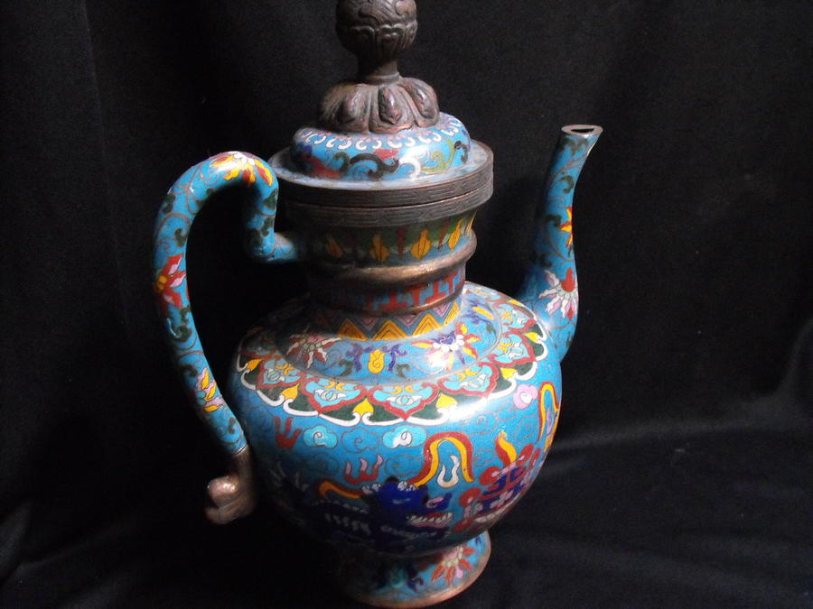Large Chinese Cloisonne Teapot Mixed Media  - Large Chinese Cloisonne Teapot Fine Art Print