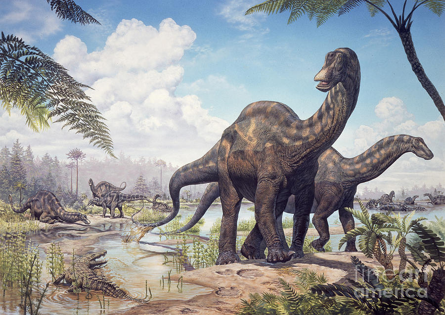 Large Dicraeosaurus Sauropods is a piece of digital artwork by Mark ...