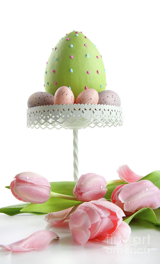 Large Easter Egg With Pink Tulips  Photograph