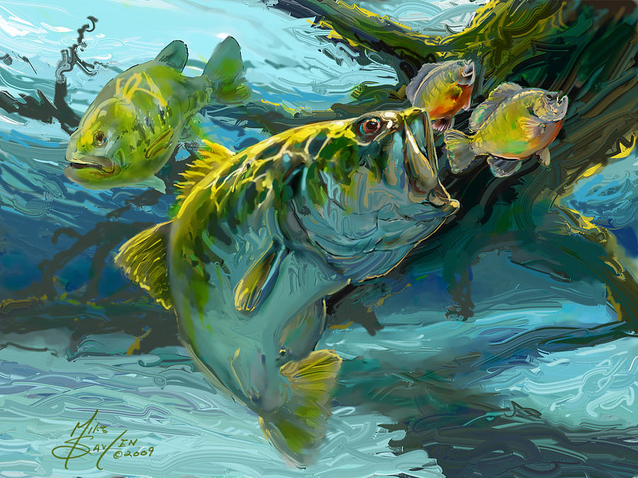 Large Mouth Bass And Blue Gills Painting  - Large Mouth Bass And Blue Gills Fine Art Print