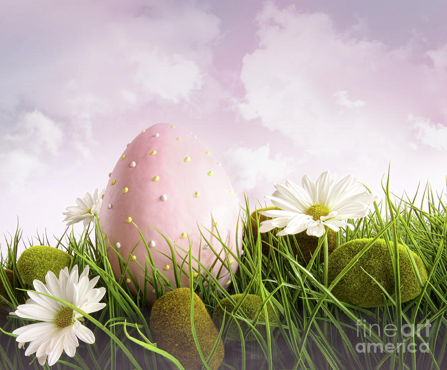 Large Pink Easter With Flowers In Tall Grass Photograph  - Large Pink Easter With Flowers In Tall Grass Fine Art Print