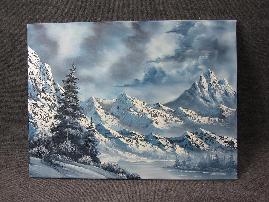 Large Snowy Mountains Sold Painting