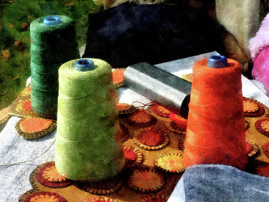 Spools Photograph - Large Spools Of Thread by Susan Savad