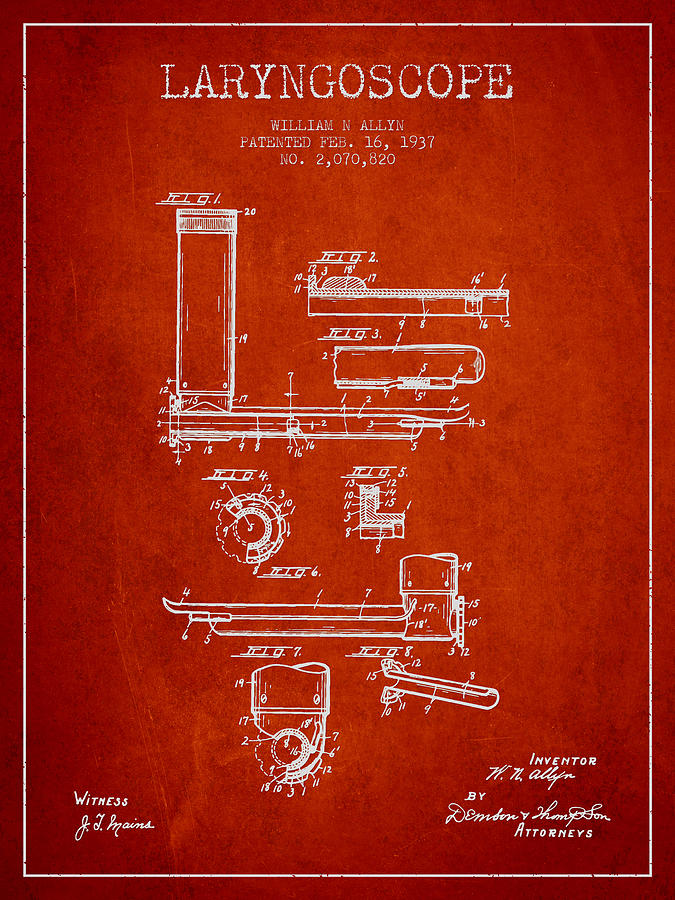 Medical Device Drawing - Laryngoscope Patent From 1937  - Red by Aged Pixel