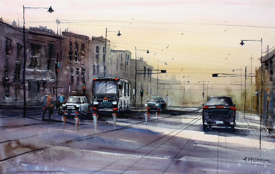 Ryan Radke Painting - Last Light - College Ave. by Ryan Radke