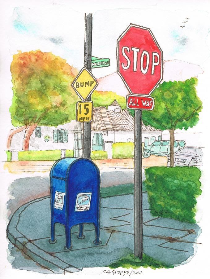 Last Mailbox In Toluca Lake - California Painting  - Last Mailbox In Toluca Lake - California Fine Art Print