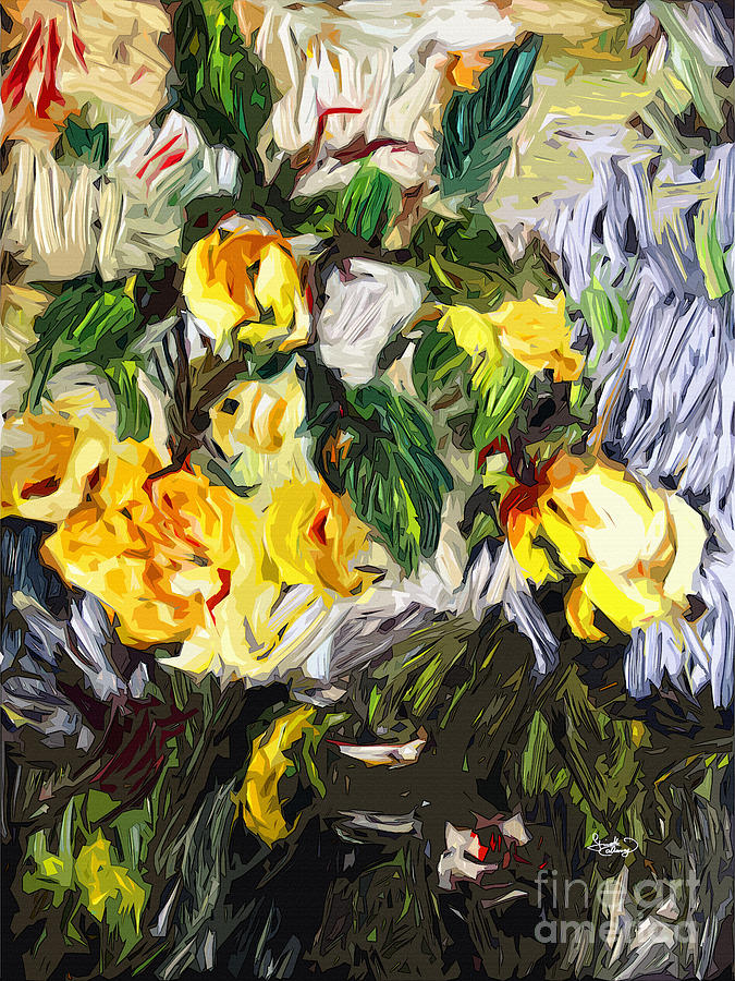 Last Of The Yellow Roses Painting