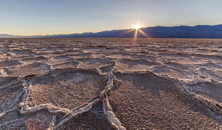 Last Sun Burst At Badwater Death Valley Photograph