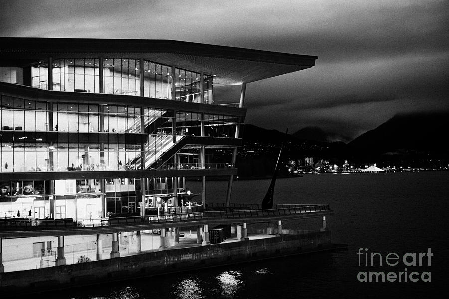 late evening at the Vancouver convention centre west building on burrard inlet BC Canada Photograph