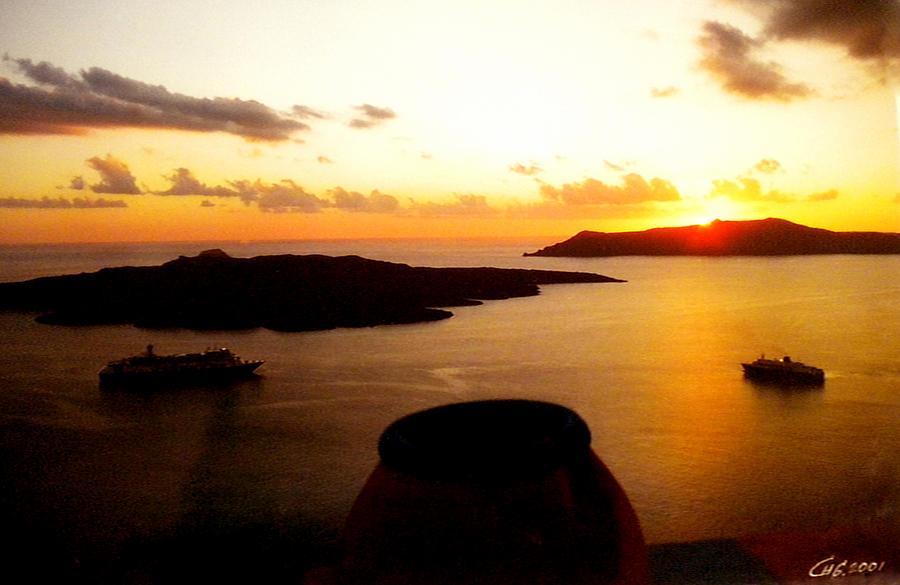 Late Sunset Santorini  Island Greece Photograph