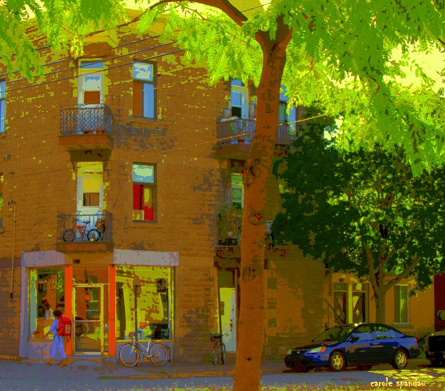 Latelier Boutique Rue Clark And Fairmount Art Of Montreal Street Scene In Summer By Carole Spandau  Painting  - Latelier Boutique Rue Clark And Fairmount Art Of Montreal Street Scene In Summer By Carole Spandau  Fine Art Print
