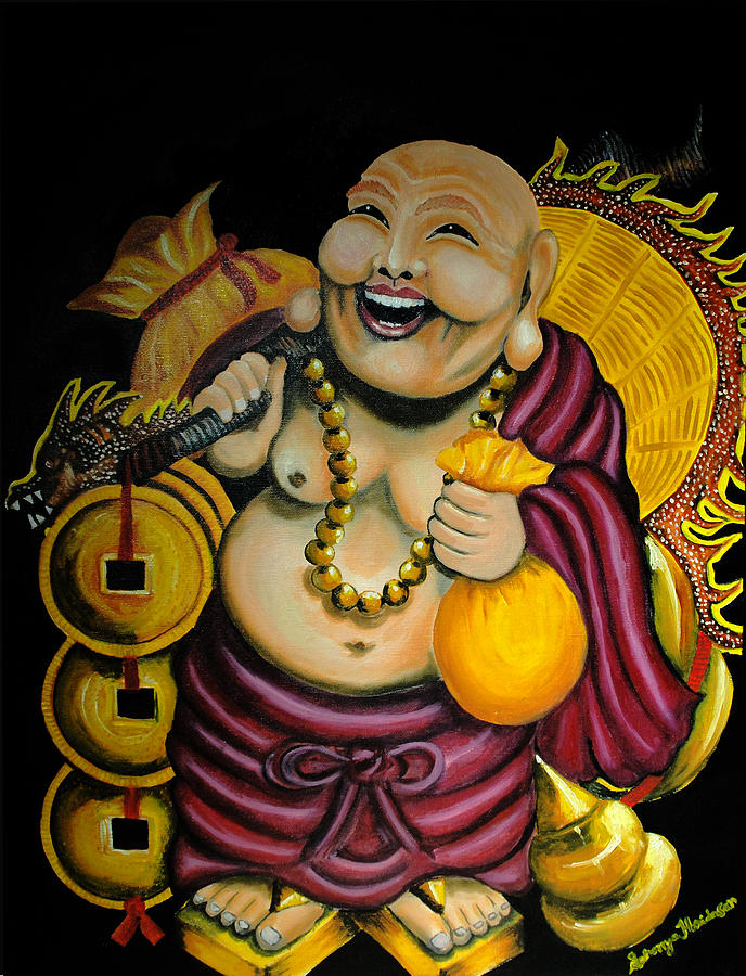 Laughing Buddha Painting - Laughing Buddha For Prosperity by Saranya Haridasan