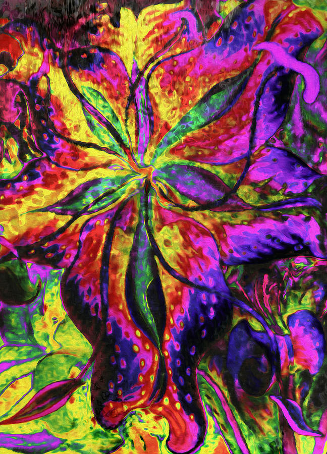 Laughing Lily Abstract Expressionism Mixed Media