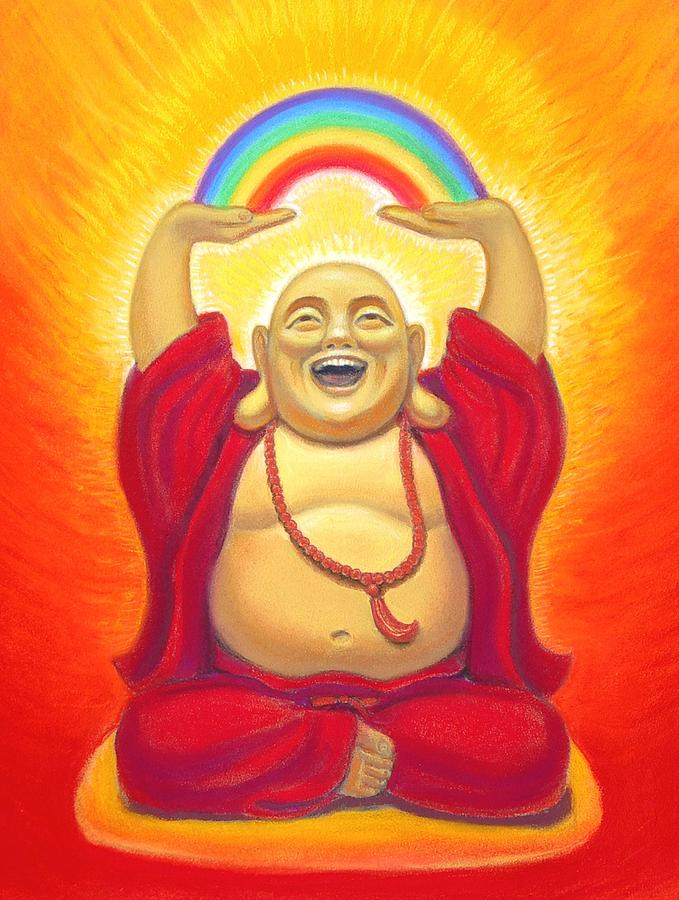 Laughing Rainbow Buddha Pastel  - Laughing Rainbow Buddha Fine Art Print