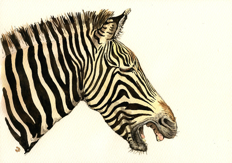 Laughing Zebra Painting  - Laughing Zebra Fine Art Print