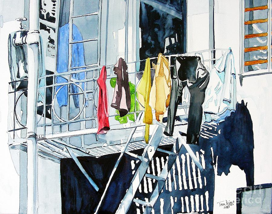 San Francisco Painting - Laundry Day In San Francisco by Tom Riggs