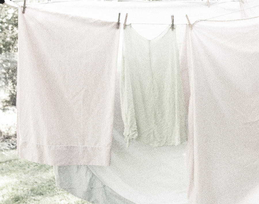 Laundry On The Line In Pink And Green Photograph  - Laundry On The Line In Pink And Green Fine Art Print