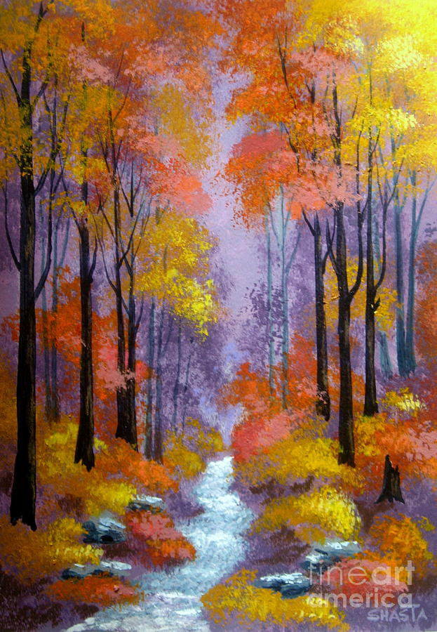 Serenity Scenes Landscapes Painting - Lavendar  Dream by Shasta Eone