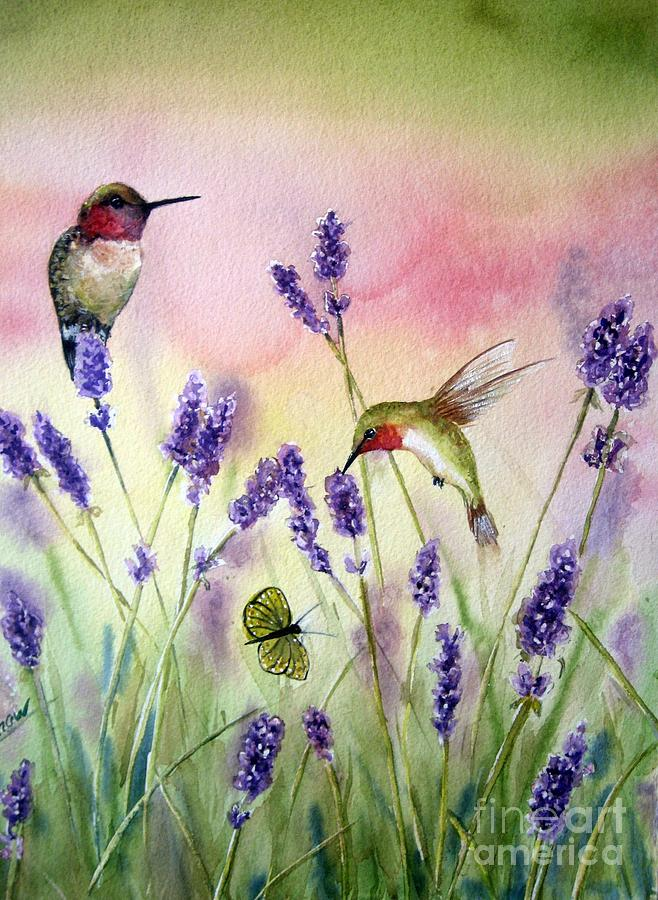 Bird Art Painting - Lavender And Hummingbirds by Patricia Pushaw