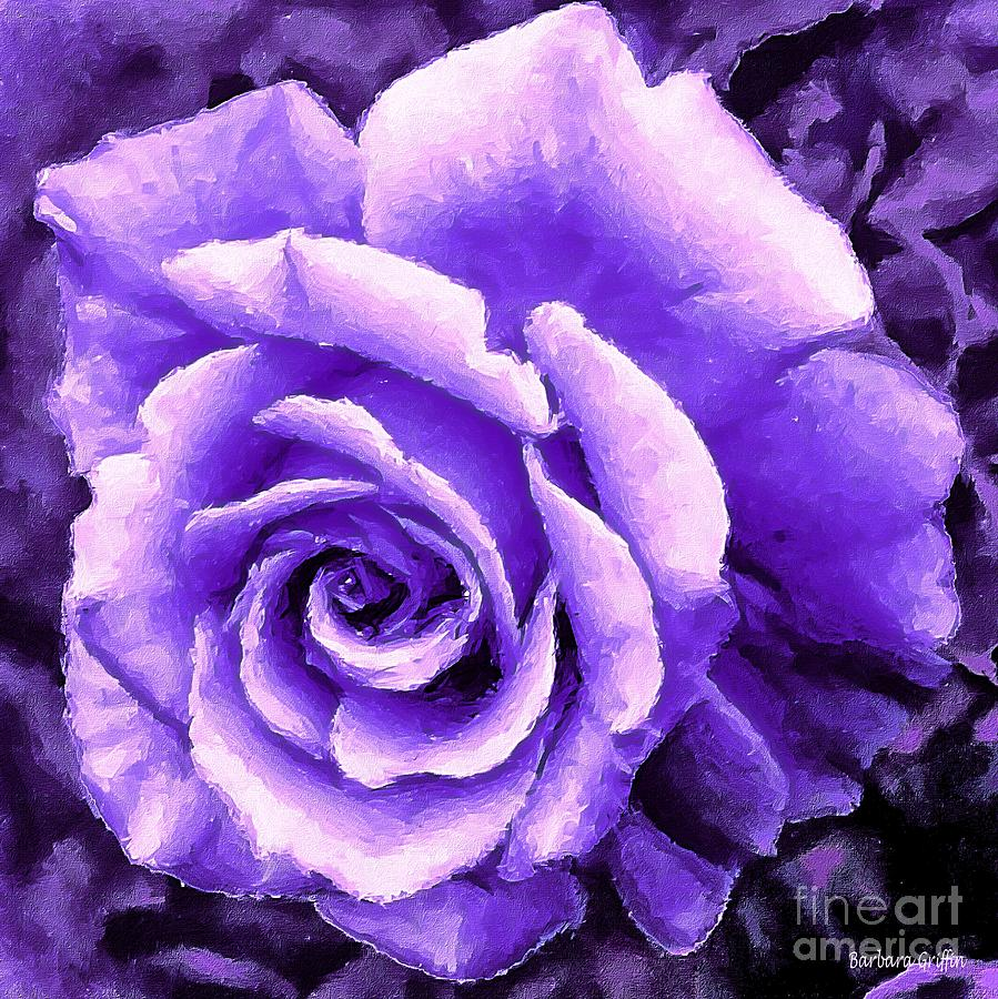 Lavender Rose With Brushstrokes Photograph By Barbara Griffin