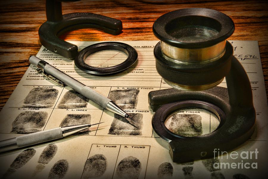 Law Enforcement - Fingerprint Analysis Photograph  - Law Enforcement - Fingerprint Analysis Fine Art Print