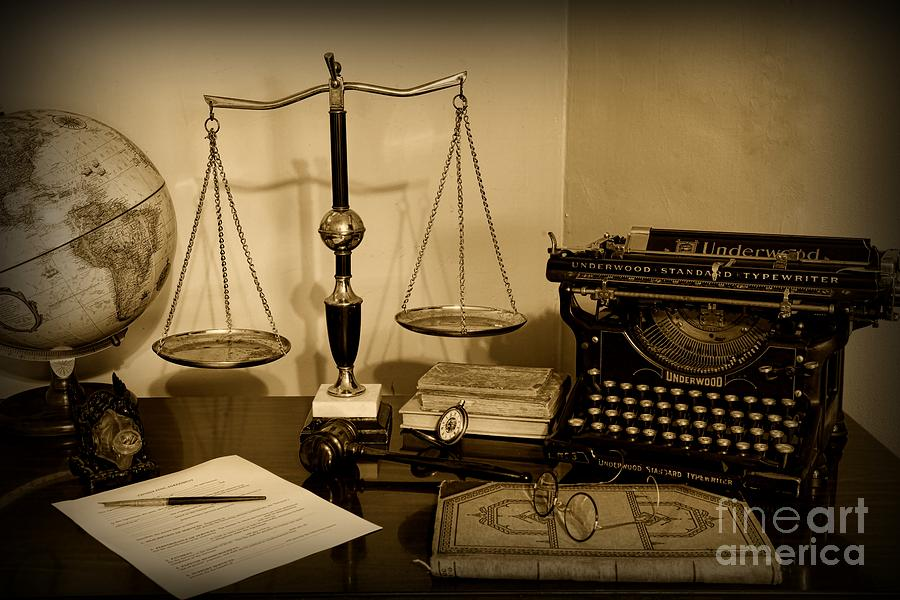 Lawyer - The Lawyers Desk In Black And White Photograph  - Lawyer - The Lawyers Desk In Black And White Fine Art Print