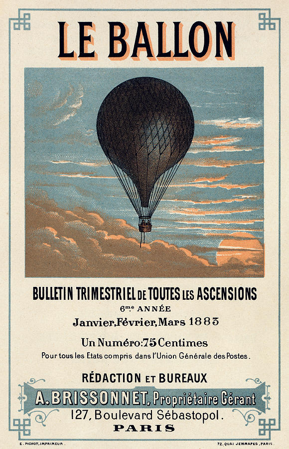 Le Ballon Advertising For French Aeronautical Journal Digital Art  - Le Ballon Advertising For French Aeronautical Journal Fine Art Print