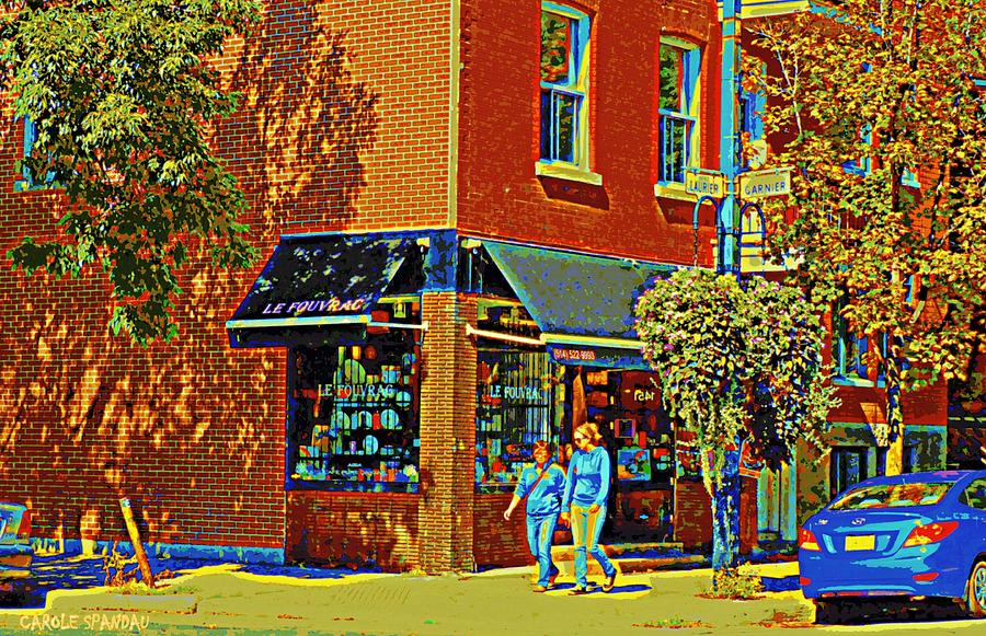 Painting - Le Fouvrac Foods Chocolates And Coffee Shop Corner Garnier And Laurier Montreal Street Scene by Carole Spandau