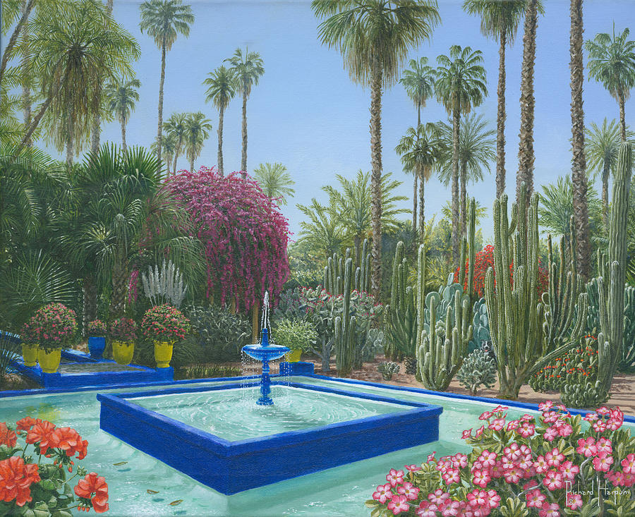 le jardin majorelle marrakech morocco painting by richard harpum. Black Bedroom Furniture Sets. Home Design Ideas