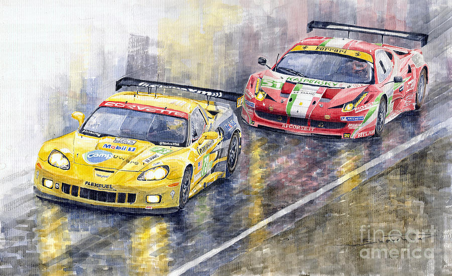 Watercolor Painting - Le Mans 2011 Gte Pro Chevrolette Corvette C6r Vs Ferrari 458 Italia by Yuriy  Shevchuk