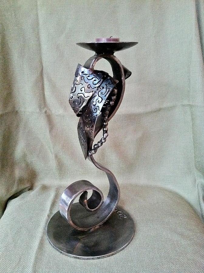 Candle Holder Sculpture - Leaf Candle Holder by Janet Rutkowski