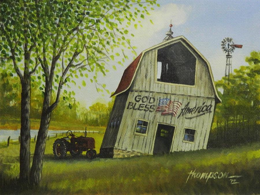 Leaning Barn Painting - Lean On Me by Whitey Thompson