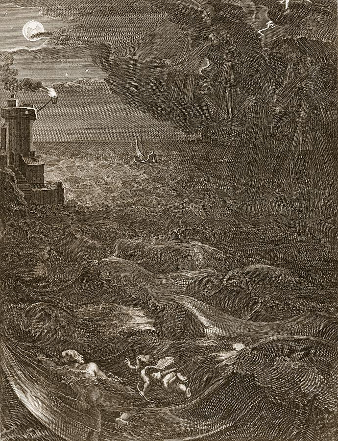 Leander Swims Over The Hellespont Drawing